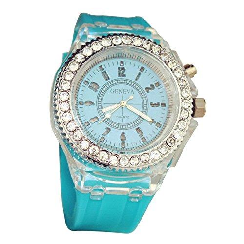 Leuchtende Uhr GENEVA Nacht leuchtende Uhr Silikon Mode Uhr fuer Liebespaar Himmelblau