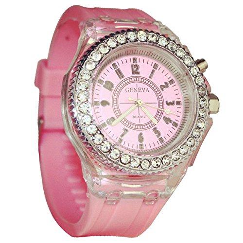 Leuchtende Uhr GENEVA Nacht leuchtende Uhr Silikon Mode Uhr fuer Liebespaar Rosa