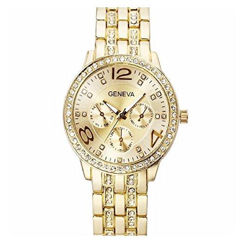 Luxus Kristall Strass Kleid Armbanduhr 3463 Gold