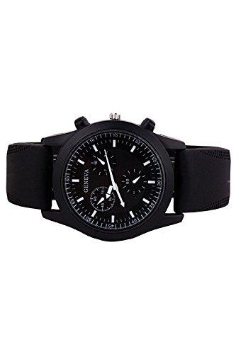 GENEVA Coole Maenner Schwarzer Gummi Buegel Armbanduhr mit schwarzem Zifferblatt