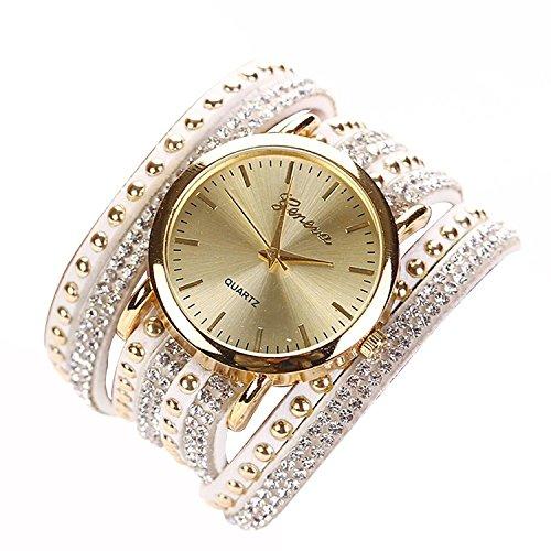 Quarzuhr GENEVA Luxus Quarzuhr Kreis Armband mit Kristallen und Nieten weiss