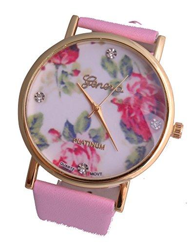 Uhr mit Rosen Lederband Rosa Uhr Gold Farben