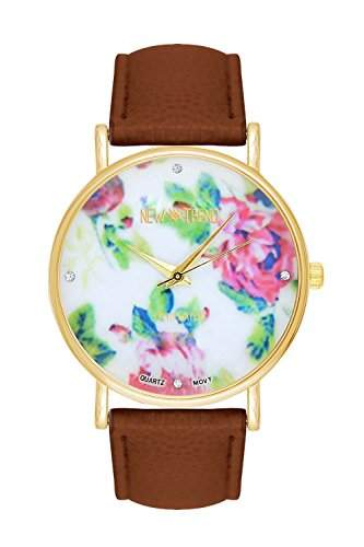 New Fashion Leder-Rosen-Blumen-Frauen-Kleid-Uhr-Quarz-Uhr-elegante da polso -braun