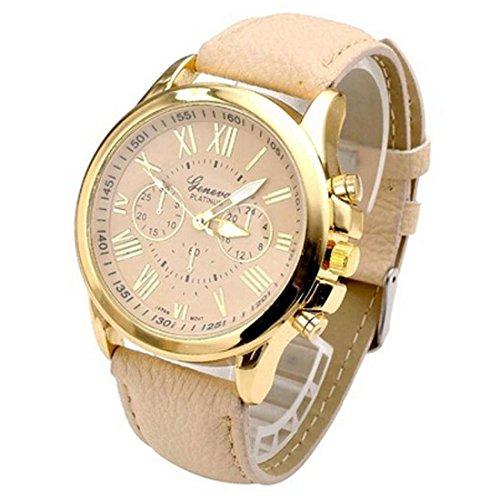 Uhr geneva Uhren elegant Uhr Zeitloses Design Classic Leather roemischen Ziffern Leder analoge
