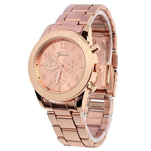 Uhr geneva Elegant Uhr Modisch Zeitloses Design Klassisch Roemische Ziffern analoge Quarzuhr Armbanduhr Rose Gold