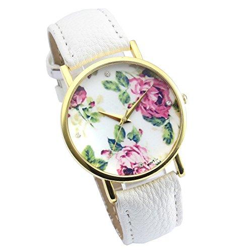 GENEVA Better Vintage Blume Damen Armbanduhr Basel Stil Quarzuhr Lederarmband Uhr Top Watch weiss