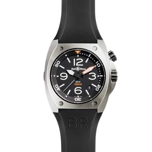 Bell & Ross Herren 45mm Automatikwerk Schwarz Kautschuk Armband Uhr BR0220CA