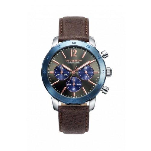 Sehen Sie Viceroy 471033 55 Stahl Chronograph Leder Mann