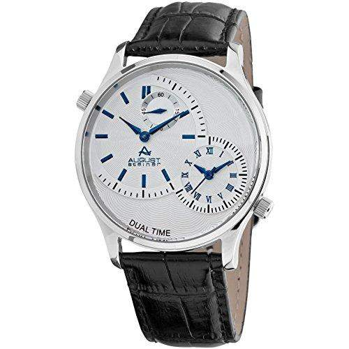August Steiner Herren 415mm Schwarz Leder Armband Uhr AS8010BU