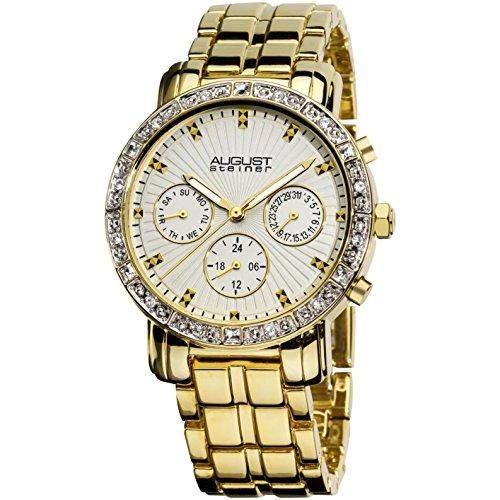August Steiner Damen 35mm Gold Metall Armband Metall Gehaeuse Datum Uhr AS8041YG