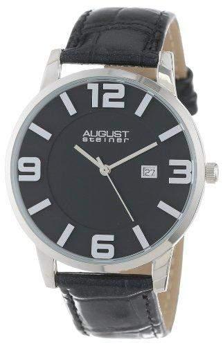 August Steiner Herren Slim Swiss Quarz Lederband Armbanduhr
