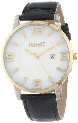 August Steiner Herren AS8055YG Slim Swiss Quartz Leather Strap Armbanduhr