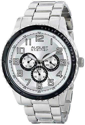 August Steiner Herren Armbanduhr Analog Display Japanisches Quarz-Silber