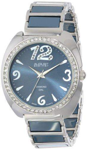 August Steiner Blue Dial Rose Gold-Tone and Blue Ceramic Ladies Armbanduhr AS8066GY