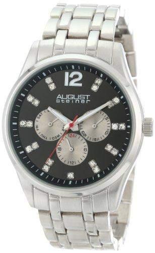 August Steiner Herren-Kristall-Quarz Armband Armbanduhr