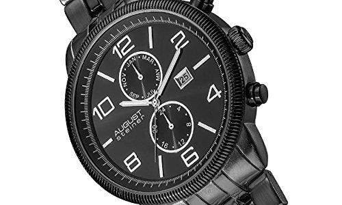 August Steiner Herren 48mm Schwarz Metall Armband Metall Gehaeuse Uhr AS8069BLK