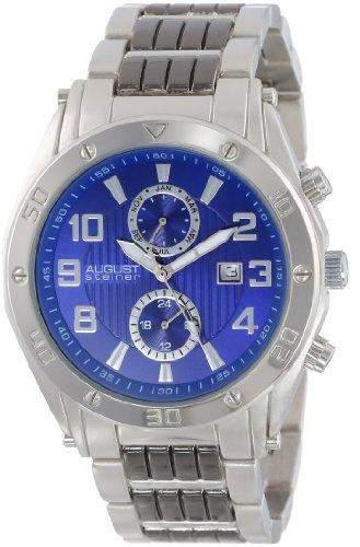 August Steiner Herren Armbanduhr Swiss-blue dial silberfarbenes und Armband schwarz