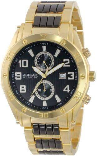 August Steiner Herren Swiss Multifunktions-goldfarbene Zifferblatt schwarz Armband Armbanduhr