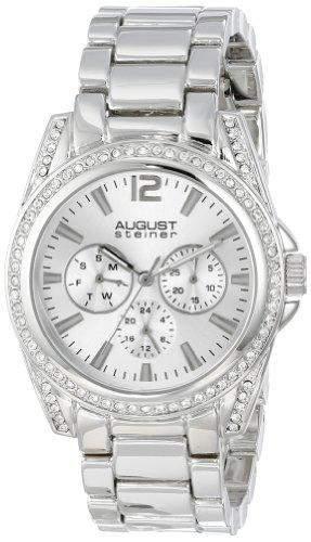 August Steiner Damen-Armbanduhr Quarz Multifunktions silberfarbenes Armband