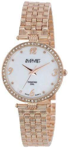 August Steiner Damen Diamant Perlmutt rose-tone Armband Armbanduhr
