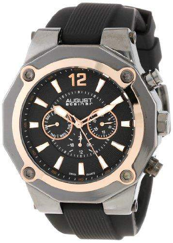 August Steiner Herren Swiss Multifunktions-rose-tone Silikon Armbanduhr