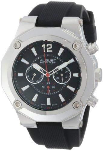 August Steiner Herren Swiss Multifunktions-silberfarbenes Silikon Armbanduhr