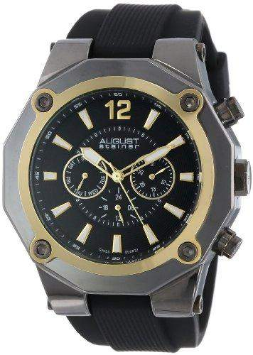 AUGUST STEINER Herren-Armbanduhr Analog Silikon Schwarz AS8080YG