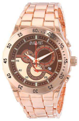 August Steiner Herren rose-tone Swiss Chronograph Quarz Armband Armbanduhr