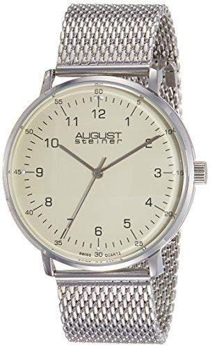August Steiner Herren as8091ss Edelstahl Uhr mit creme Zifferblatt und Mesh Armband