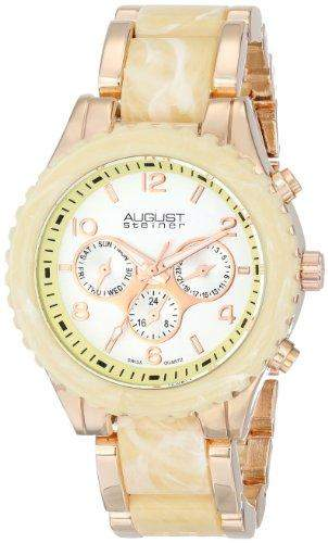 August Steiner Damen-Swiss Quarz Multifunktions rose-tone & Ivory Armband Armbanduhr