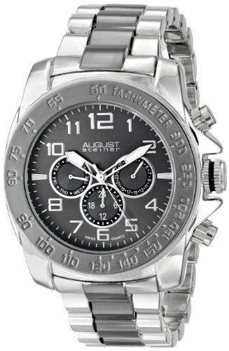 August Steiner Herren-Swiss Quarz Multifunktions Schwarz Zifferblatt bicolor Armband Armbanduhr