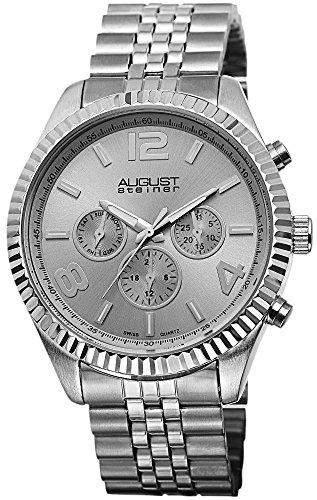 August Steiner Herren-Swiss Quarz Multifunktions silberfarbenes Edelstahl Armband Armbanduhr