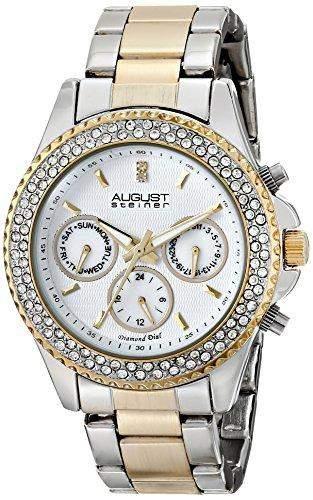 August Steiner Damen Swiss Quarz Multifunktions Diamant & Kristall silberfarbenes und goldfarbene Armband Armbanduhr