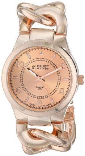 August Steiner Damen-Swiss Quarz Diamant rose-tone Twist Kette Armband Armbanduhr