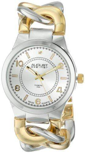 August Steiner Damen-Swiss Quarz Diamant bicolor Twist Kette Armband Armbanduhr