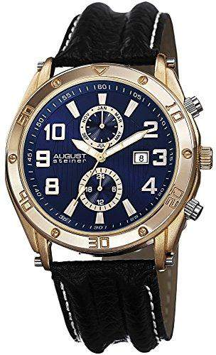 August Steiner Herren-Swiss Quarz Multifunktions Blau & Goldton Zifferblatt schwarz Lederband Armbanduhr