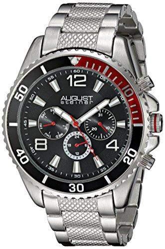 August Steiner Herren-Swiss Quarz Multifunktions Schwarz Zifferblatt silberfarbenes Armband Armbanduhr