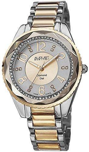 August Steiner Damen Swiss Quarz Diamant Zifferblatt silberfarbenes & Necklaces Halskette Armband Armbanduhr