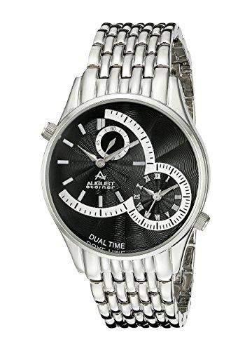 August Steiner Herren 42mm Silber Metall Armband Metall Gehaeuse Uhr AS8141SSB