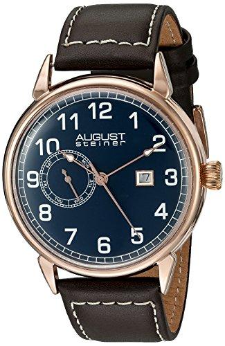 August Steiner Herren Armbanduhr mit blauem Zifferblatt Analog Anzeige und braunem Lederband as8182rgbr