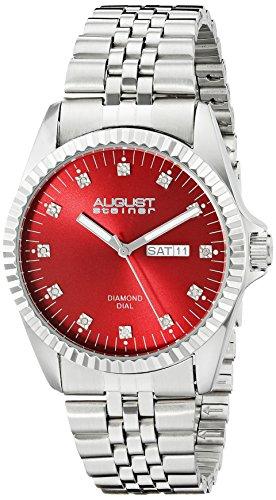 August Steiner Herren Armbanduhr mit Rot Zifferblatt Analog Anzeige und Silber Edelstahl Armband as8169rd