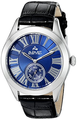 August Steiner Herren Armbanduhr mit Blau Zifferblatt Analog Display und schwarz Lederband as8203ssbu