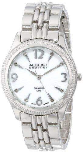 August Steiner Swiss Quarz Diamant Perlmutt silberfarbenes Armband