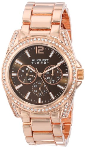 August Steiner Quarz Multifunktions Braun Zifferblatt rose tone Armband