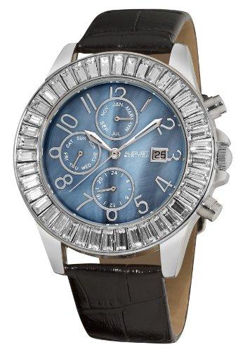 August Steiner 42mm Armband Leder Schwarz Gehaeuse Metall Quarz Zifferblatt Blau AS8037SS