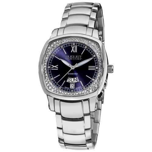 August Steiner Damen s Day Date Diamond Swiss Quartz Uhr