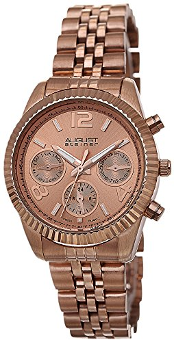 August Steiner Damen Swiss Quarz Multifunktions rose tone Edelstahl Armband Armbanduhr