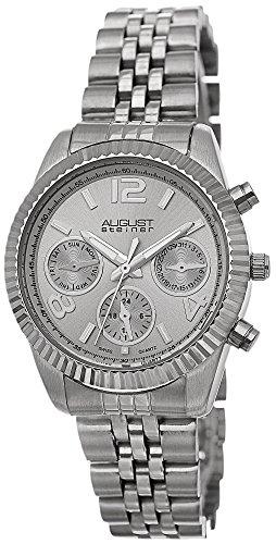 August Steiner Damen Swiss Quarz Multifunktions silberfarbenes Edelstahl Armband Armbanduhr