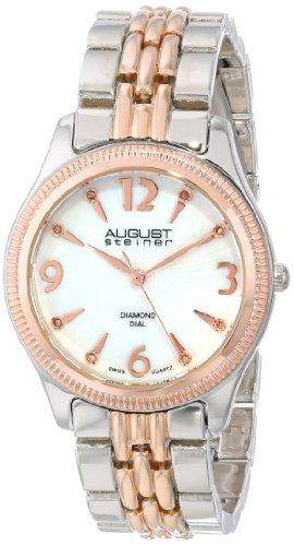 August Steiner Damen Swiss Quarz Diamant Perlmutt bicolor Armband Armbanduhr