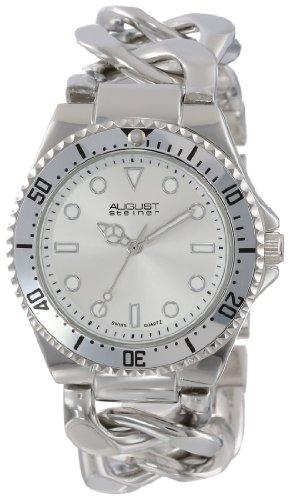 August Steiner Damen Swiss Diver silberfarbenes Twist Kette Armband Armbanduhr